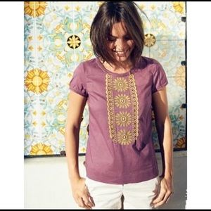 Boden embroidered top size 8 cotton purple yellow
